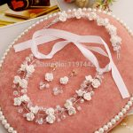 Bridal pearl <b>jewelry</b> sets <b>handmade</b> high-grade resin flowers wedding necklace earrings headwear three-piece <b>jewelry</b> sets
