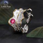 Lotus Fun Real 925 <b>Sterling</b> <b>Silver</b> Natural Tourmaline Handmade Designer Fine <b>Jewelry</b> Adjustable Leaf Rings for Women Bijoux