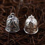 FNJ 925 Silver Bells Pendant Vintage Pattern 100% Pure S925 Solid Thai Silver Pendants for Women Men <b>Jewelry</b> <b>Making</b>