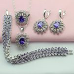 ASHLEY Purple White Stone <b>Silver</b> Plated Jewelry Sets Bijouterie For Women Earrings/<b>Bracelet</b>/Pendant/Necklace/Ring Free Gift Box
