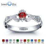 Personalized Engrave Name Birthstone <b>Jewelry</b> Claddagh 925 Sterling Silver Rings For Women Free Gift Box (JewelOra RI101962)