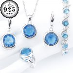 New <b>Silver</b> 925 Wedding Jewelry Sets Round Light Blue Zirconia <b>Bracelets</b> Earrings Rings Pendant Necklace For Women Set Gift Box