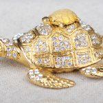 Turtle Mother and Son Faberge Styled Trinket Box <b>Handmade</b> Decorated Turtle Treasure Holding Box Turtle Shape Trinket