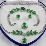 Noble Bridal wedding Jewelry <b>Silver</b> plated green Jades Tiger eye stone Turquoises Jewelry Set