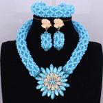 Bright Dubai <b>Jewelry</b> Sets Blue African Costume <b>Jewelry</b> Sets Indian Beads <b>Necklace</b> Set Christmas Boutonniere Bridal Party Gift