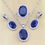 925 Sterling Silver <b>Jewelry</b> Blue Cubic Zirconia White CZ <b>Jewelry</b> Sets For Women Wedding Earrings/Pendant/Necklace/Rings