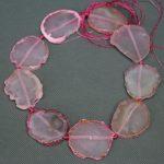 Kindgems Pink Druzy Stone Necklace Beads, Freeform Gems Stone Necklace Beads, Slice Connector Charm <b>Jewelry</b> <b>Making</b> Loose Beads