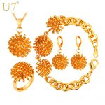 U7 Wedding Jewelry Sets For Women Gold/<b>Silver</b> Color Round Ball Shape African Bridal Jewelry Sets Wholesale S738
