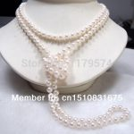 fashion all-match lady Pearl <b>jewelry</b> 7-8mm White Cultured woman long Pearl Necklace Fashion <b>Jewelry</b> <b>Making</b> Design 46 inch xu17