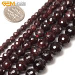 Gem-inside 4-16mm Natural Stone Beads Round Faceted Garnet Beads For <b>Jewelry</b> <b>Making</b> Beads 15inch DIY Beads Jewellery