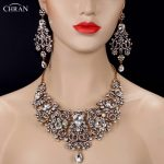 CHRAN Noble Crystal Indian Bridal Jewelry Sets for Women Vivid Antique Gold Color <b>Necklace</b> Sets <b>Silver</b> Color Wedding Jewelry