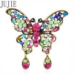 JUJIE Fashion Cartoon Butterfly Brooches For Women Multicolor Crystal Animal Corsage <b>Antique</b> Gold Vintage <b>Jewelry</b> Lady Gift