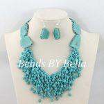 <b>Handmade</b> Necklace Earrings Set Blue Stone Beads Wedding Party <b>Jewelry</b> African <b>Jewelry</b> Beads Set New Free Shipping ABC1124