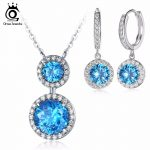 ORSA JEWELS Round Shape Earrings and Eternity Pendant Necklace <b>Jewelry</b> Sets with Ocean Blue AAA Cubic Zirconia for Women OS107