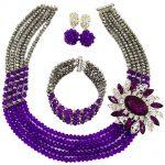 Fashion Purple <b>Silver</b> African Beads Necklace Nigerian Wedding Jewelry Set 5C-SXJB029