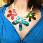Fashion statement <b>necklace</b> red blue crystal flower pendant leather chain choker colar chokers <b>necklaces</b> women chocker <b>jewelry</b>