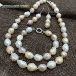 summer sheen semi baroque <b>necklace</b> bracelet hook dangle earring pearl set Mixed color white pink purple stely freshwater pearls