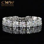 CWWZircons Women <b>Fashion</b> <b>Jewelry</b> Gorgeous Silver Color Spring Flower Cubic Zirconia Connected Tennis Bracelet CB010