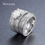 NEWBARK Classic Coppe Rings Set For Women Cubic Zirconia Silver Color Fashion Ring <b>Jewelry</b> Engagement <b>Wedding</b> Rings For Women
