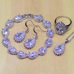 Classic Water Drop Shaped White Zircon Women 925 Sterling <b>Silver</b> Jewelry Sets Earrings/Pendant/Necklace/Rings/<b>Bracelet</b> T196