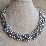 100% Real Pearl Necklace, Gray 18 Inches 3-8MM Gray Freshwater Pearl Necklace ,Perfect Lady's <b>Jewelry</b>,<b>Handmade</b> Jewellery