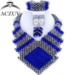 ACZUV Latest Royal Blue <b>Silver</b> Wedding Jewelry Sets African Beads Jewelry Set for Women CFKK006
