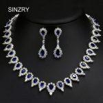 SINZRY Luxury <b>jewelry</b> Clear white cubic zircon micro paved pear design bridal wedding <b>necklace</b> earring <b>jewelry</b> set women