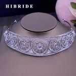 HIBRIDE Top Dubai <b>Jewelry</b> Bridal Hair Accessories AAA Cubic Zircon White Gold Color Women Crown <b>Wedding</b> Engagement Gifts C-39