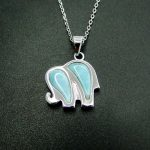 925 Sterling <b>Silver</b> Pendant Natural Larimar Pendant Cute Elephant Charm Pendant for Women children Gift <b>Jewelry</b> without Chain