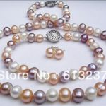 Fashion 7-8mm natural freshwater cultured round multicolor pearl diy necklaces bracelets earrings sets <b>making</b> 18 inch MY4564