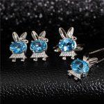 hot sale 925 <b>silver</b> blue topaz ring <b>earrings</b> pendant necklace new style cute fine jewelry set MEDBOO natural gemstone jewelry