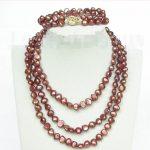 Prett Lovely Women's Wedding length 49″ necklace 8-9mm baroque light coffee pearls 2row bracelet set