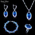 Romantic 925 Stamp <b>Silver</b> Color Jewelry Sky Blue zircon Jewelry Sets For Women Wedding <b>Bracelets</b>/Necklace/Earrings/Pendant/Ring