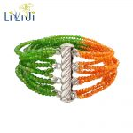 Lii Ji Real Shining Diopside,Orange Zircon 12 Rows 925 <b>Sterling</b> <b>Silver</b> Fine Delicate Bracelet For Women Fashion <b>Jewelry</b>