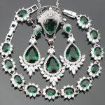 Stones Jewelery Women <b>Silver</b> 925 Costume Jewelry Sets Wedding Earrings With Stones Rings Pendant Necklace <b>Bracelets</b> Set Gift Box