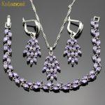 Lan Leaf shape Sliver Planted Jewelry Sets Purple AAA Zircon Inlay Necklace&Pendant Earrings <b>Bracelet</b> For Women Free Shipping
