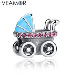 VEAMOR 925 Sterling Silver Blue Enamel Baby Carriage Charms Vintage CZ Baby Stroller Beads Fit Pandora Bracelets <b>Jewelry</b> <b>Making</b>