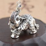 FNJ 925 <b>Silver</b> Elephant Pendant Good Luck Coins 100% Pure S925 Solid Thai <b>Silver</b> Pendants for Women Men <b>Jewelry</b> Making