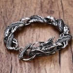 Mens Dragon Themed Link <b>Bracelet</b> with Toggle Clasp <b>Silver</b> Color Men Punk bileklik Stainless Steel Jewelry pulseira masculina
