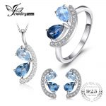 JewelryPalace 2.8ct Genuine Sky, London Blue Topaz Cluster Pendant Necklace Stud Earrings Ring <b>Jewelry</b> Sets 925 <b>Sterling</b> <b>Silver</b>
