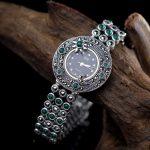 Limited Edition Classic S925 <b>Silver</b> Pure <b>Silver</b> Plum Sun Moon Jade <b>Bracelet</b> Watch Thailand Process Rhinestone Bangle Dresswatch