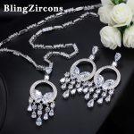 BlingZircons Luxury Women Wedding Decoration AAA Cubic Zirconia Long Tassel Crystal <b>Necklace</b> Earrings Costume <b>Jewelry</b> Sets JS024