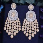 GODKI 73mm Luxury Trendy Tasssels Full Mirco Paved Cubic Zirconia Naija <b>Wedding</b> Drop Earring Fashion <b>Jewelry</b>