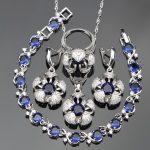 Women Blue Cubic Zirconia White CZ <b>Silver</b> Jewelry Sets <b>Bracelets</b>/Earrings/Pendant/Necklace/Rings Free Jewelry Box