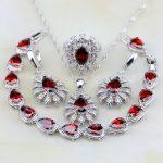 925 Sterling <b>Silver</b> Jewelry Red Garnet Zircon White CZ Jewelry Sets For Women Wedding Earrings/Pendant/Necklace/<b>Bracelet</b>/Ring
