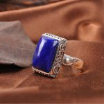 Can Tong Lapis factory direct <b>supply</b> of the original family name wind natural Lapis Thai silver inlaid <b>jewelry</b> ring