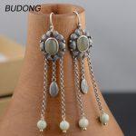 BUDONG Real 925 <b>Sterling</b> <b>Silver</b> Drop Dangle Earring for Women Vintage S925 <b>Silver</b> Long Tassel Hook Anniversary Gift Fine <b>Jewelry</b>