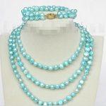 Prett Lovely Women's Wedding length necklace 49″ 8-9mm baroque sky-blue pearls necklace 2row bracelet set