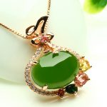 925 <b>silver</b> Gold Natural Green HeTian Yu Inlay Gem stone Lucky Pendant <b>Necklace</b> + certificate Fashion Jewelry for woman