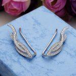 Bella Fashion 925 Sterling Silver Leaf Sweep Ear Cuff Wrap Crawler Vine Cubic Zircon Bridal Earrings For <b>Wedding</b> Party <b>Jewelry</b>